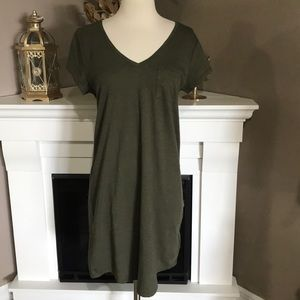 Gap Olive Green Relaxed V Neck Pocket Tee Dress